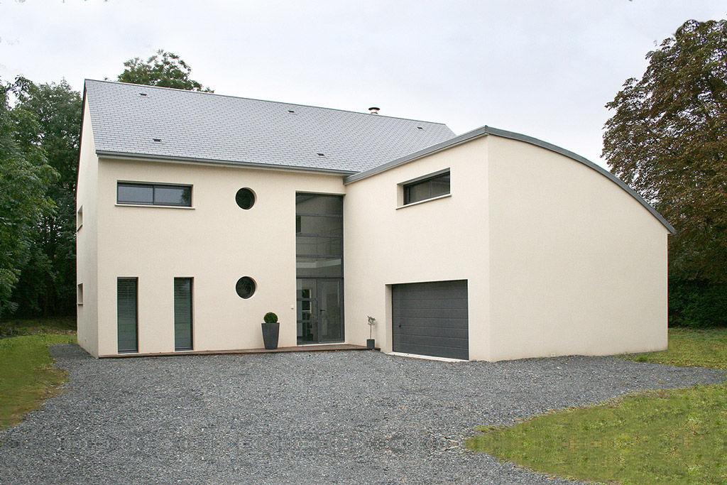 Maison moderne toit 2 pans et arrondi